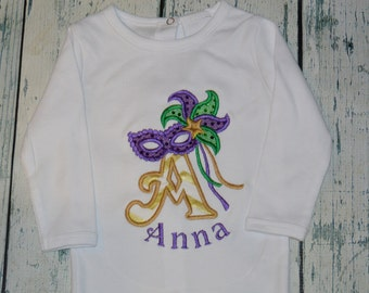 Personalized  Mardi Gras Mask Bodysuit  or Shirt monogrammed