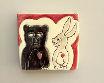 Animal Art, Small, Black Bear and Rabbit Mini Wall Art, Black and Red Ceramic Wall Tile, Home Decor, Woodland Animal Art Pottery