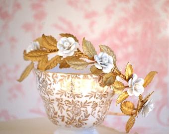 Bridal Headband White Flowers Gold Leaf Wedding Romantic Bridal Woodland Garden Hairband - Ready to Ship