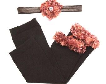 Autumn Brown Baby Leg Warmers and Headband