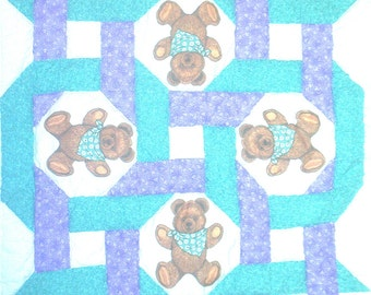 Lavender Bears Intertwined Baby Quilt Kit