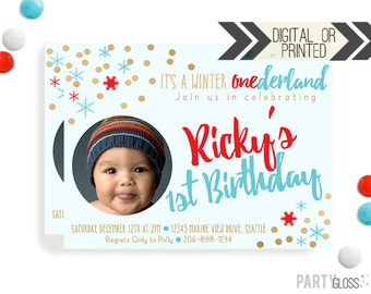 Boy Winter Onederland Photo Invitation | Digital or Printed | Winter Wonderland Invitation | Red Aqua Party Invitation | Red Aqua Gold