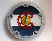 I Bike Colorado Recycled Bicycle Chainring Wall Clock
