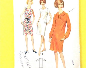 1960s Butterick 4035  Semi-fitted Yoke Dress Sleeveless, Short or Long Sleeves  Bust 32 Vintage Sewing Pattern