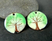 Tree Enamel Earring Charms, Nature Inspired Woodland Jewelry Components, Earth Tones Enameled Copper Green Brown Cream Torch Fired Sgraffito