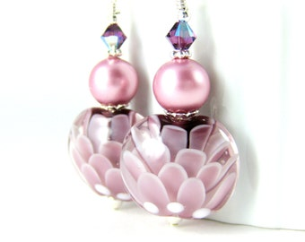 Purple Pink Glass Flower Dangle Earrings, Botanical Earrings, Nature Inspired Jewelry, Floral Earrings, Lampwork Earrings, Nature Earrings