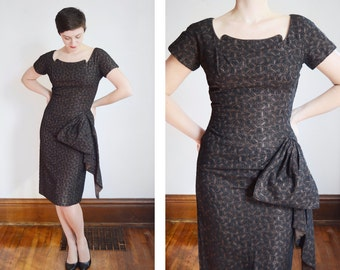 1950s Brown and Black Embroidered Cocktail Dress - M