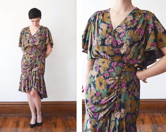 1980s Floral Ruffled Dress - M