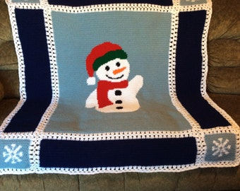 Snowman with Snowflakes Crochet Afghan Blanket Throw - Great for Christmas-