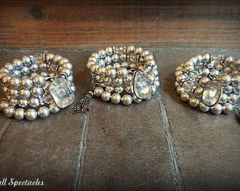 CHUNKY Vintage Lucite and Vintage Metal Tassel Wrap Bracelet