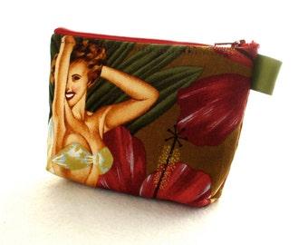 Island Girls Tropical Hawaiian Retro Pin-Up Girl Fabric Gadget Pouch Small Cosmetic Bag Fabric Zipper Pouch Makeup Bag Alexander Henry