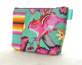Tula Pink Chipper Fabric Gadget Pouch Small Cosmetic Bag Fabric Zipper Pouch Makeup Bag Chipmunk Stripe Hot Pink Orange Mint Sorbet MTO