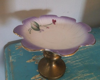 Upcycled Porcelain and Brass Ring Dish ~ Vintage porcelain ~ Lavender Floral ~ Shabby chic cottage