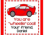 Valentine Race Car Sticker, Gift Enclosure Card or Return Address Label - Set of 24