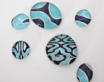 blue and teal swirl pattern magnet or push pin set - made from recycled magazines, stocking stuffer, hostess gift, graduation