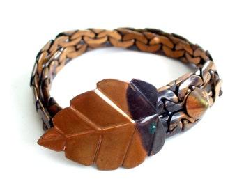 Rebajes Wrap Bracelet, Vintage REBAJES Copper LEAF Wrap Link Bracelet, Leaf Bracelet, Rebajes Bracelet, Modernist Copper, The Copper Cat