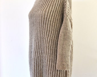 Sweater Cardigan Jacket Tunic Chunky Sweater Hand Knit Beige Sand Earth Tones