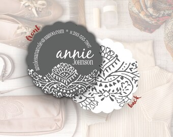Unique Business Card Holder, Round Business Cards, Mommy Cards, Networking Cards, Calling Cards, Blogger Contact Cards // Annie S-S40 UU1