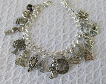 Alice in Wonderland Theme Charm Bracelet - silver plated