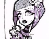 Purple Goth Girl with Bob Ink Illustration