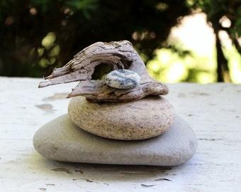Rock and Driftwood Sculpture , Natural Art