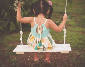 Girl's Dress - Adjustable Straps with Tassels - Toddler Dress - Little Girl Dress - Children's Clothing -Handmade Boutique Style