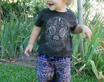 Downward Dog Yoga Hippie Kids pants -Size 1 yr.-Purple blue Sunflowers -Boys or Girls- Read measurements