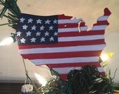 American flag wooden ornament