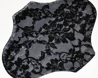 Heavy Hemp Core- Lace Minky Reusable Cloth Pantyliner Pad- WindPro Fleece- 8.5 Inches