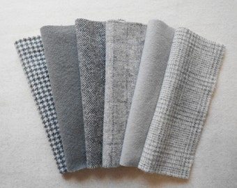 """Felted wool in a combination of Grey/Gray Neutral tones in a 8"""" x 6"""" or 15"""" x 6"""" size"""