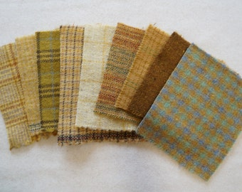 """Assorted Color Yellow - Gold -  Felted Wool 5"""" x 5"""" Wool Charm Pack of 9"""