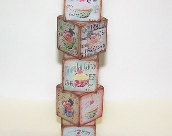 Wooden Block, Cupcake, Parisian, French, Shabby Chic, Paris, Home Decor, Collectibles, Free Shipping, Wood, Digital Artwork, Vintage, Shabby