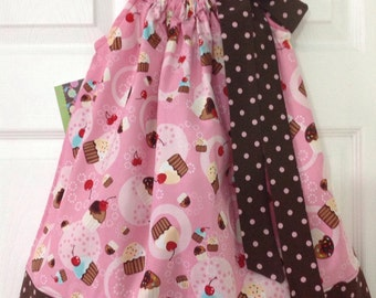 READY TO SHIP - Cute Cupcakes Pillowcase Dress Size 3