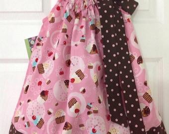 READY TO SHIP - Cute Cupcakes Pillowcase Dress Size 2