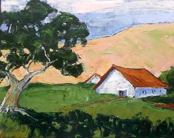 Impressionist Painting California Plein Air Landscape Farm Barns Oak Tree Hills 11x14 Lynne French