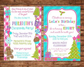 Girl Christmas Holiday Party Birthday Pink Purple Blue Girly Invitation - DIGITAL FILE