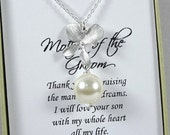 Ivory Pearl Mother of the Groom Necklace, Mother of the Groom Gift, Orchid Necklace, Orchid and Pearl Necklace, Gift for Moms Pearl Necklace