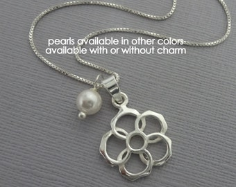 Sterling Silver Flower Necklace, Flower Girl Necklace with Pearl Charm, Flower Gift Gift, Flower Girl Necklace, Flower Girl Jewelry