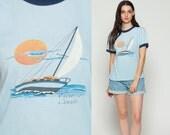 Ringer Tee Boat Shirt VICTORIA BC Canada Sailboat Retro TShirt Vintage Burnout T Shirt 80s Nautical Paper Thin Tee Graphic Blue Large