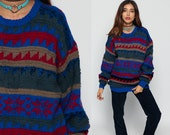 WOOL Sweater Geometric Print 80s Grunge SNOWFLAKE Slouchy Statement Oversized Striped Jumper Red Blue 1980s Boho Vintage Knit Extra Large Xl