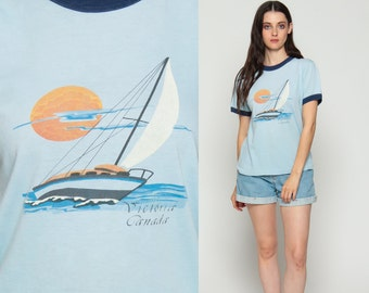 Ringer Tee Boat Shirt VICTORIA BC Canada Sailboat Retro TShirt Vintage Burnout T Shirt 80s Nautical Paper Thin Tee Graphic Blue Large