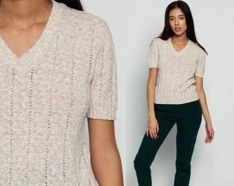 V Neck Sweater Top 80s Knit Shirt Sheer Boho Open Weave Short Sleeve Sweater Beige 1980s Nerd Geek Retro Vintage Medium