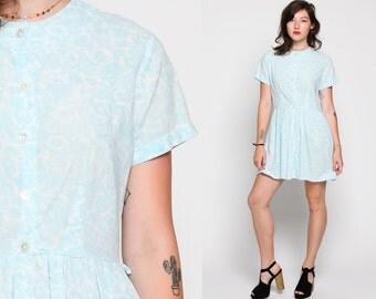 60s Mod Dress Mini Floral Print Hippie Day Dress Button Up Mad Men 1960s Vintage Boho High Waisted Bohemian Twiggy Blue White Large