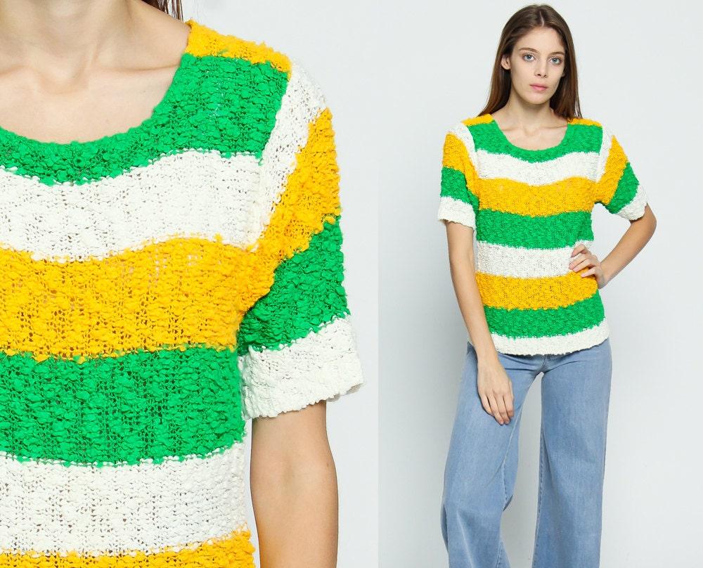 Knit Shirt Striped Sweater Top Short Sleeve Sweater 80s Boho