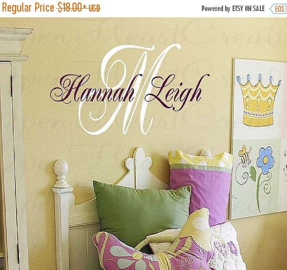 ON SALE Initial and Name Personalized Vinyl Wall Decal - Baby Nursery Girl Boy Elegant Script Style Font IN0015S