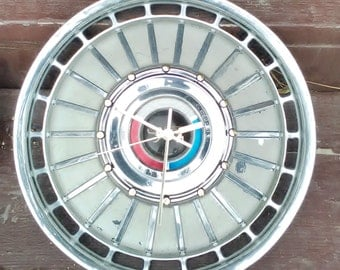Ford Hubcap Clock, 1970s Ford Galaxy, with dots for numbers  (recycled clock)