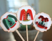 Ugly Christmas Sweater - Cupcake Toppers/Party Sticks