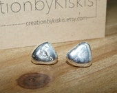 Romantic Pebble Stud Earrings: Made from pebbles found at a location of your choice