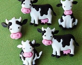 Mooove It - Moo Cow Dairy Farm Farmer Milk Animal Dress It Up Craft Buttons