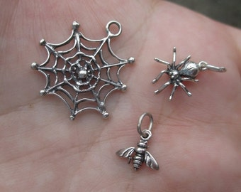 Sterling Silver Spider, web or bee Charm-You choose which one